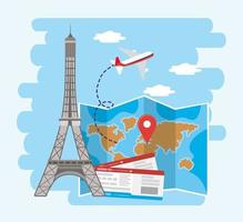 Eiffel tower with global map location and airplane tickets