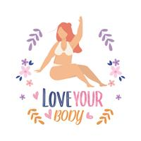Cartel de love your body con mujer en ropa interior