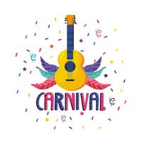 Carnival poster with guitar and feathers