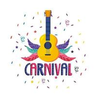 Cartaz de carnaval com guitarra e penas