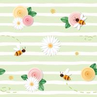 Summer floral seamless pattern. Roses, chamomiles, flying bees on stripped green background.