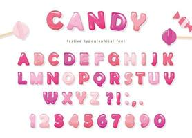 Candy glanzend lettertype ontwerp. Kleurrijke roze ABC-letters en cijfers