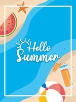 Olá cartaz de verão com areia da praia e melancia