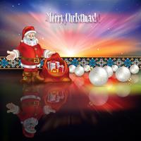 Abstrato saudação de Natal com Papai Noel e presentes