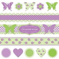 Scrapbook design elements. Butterflies and lace.