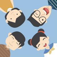 Man och kvinna Gruppporträtt av roliga ansikten