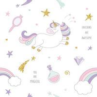 Enhörning magisk sömlös bakgrund med regnbåge, stjärnor och diamanter.