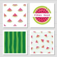 Watermelon design elements set. Seamless patterns and sale icon