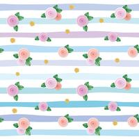 Seamless pattern with roses and gold glitter polka dots on striped background.