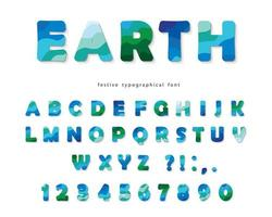 Carattere moderno di paesaggio di terra. Lettere e numeri blu e verdi di ABC isolati su bianco