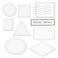 Conjunto de formas diferentes de selos postais em branco - triângulo, quadrado, redondo, oval, losango