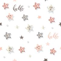 Decorative trendy seamless pattern background with stars and glitter confetti. vector