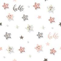 Dekorativ trendig sömlös bakgrund med stjärnor och glitterkonfetti.