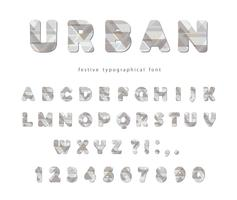 Modern urban font. Stylized letters and numbers