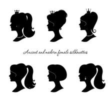 Beautiful female silhouettes set. Modern and ancient young woman profiles.