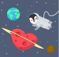 Astronauta del pinguino che galleggia nel fondo dello spazio