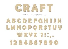 Craft typographical font. Cardboard ABC letters and numbers isolated on white.