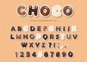 Paper cut out ABC letters and numbers, made of different kinds of chocolate on the wafer background.