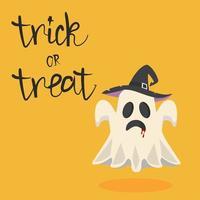 vetor de fantasma de halloween com chapéu