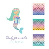Cute mermaid with birthday present box and scale pattern set. vector