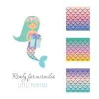 Cute mermaid with birthday present box and scale pattern set.