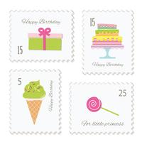 Birthday postage stamps set.