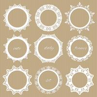 Round lacy doilies set. Decorative frames.