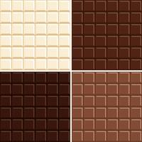 Seamless chocolate bar pattern background set - white, milk, dark and extra dark.