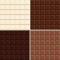 O fundo sem emenda do teste padrão de barra do chocolate ajustou-se - branco, leite, escuro e extra escuro.