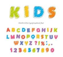 Lettertype potlood krijt. Voor kinderen. Handgeschreven, gekrabbel.