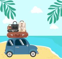 viaggiando in mini auto su Summer Beach