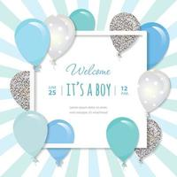 Balloons in paper cut out square frame. Birthday and boy baby shower design