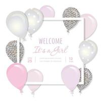Balloons in paper cut out square frame. Birthday and girl baby shower design.