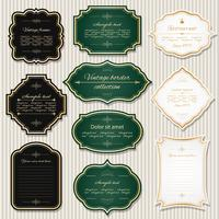 Vintage golden frames and labels set.
