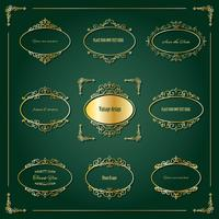 Luxury golden frames and borders set. vector