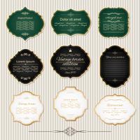 Conjunto de marcos y etiquetas doradas vintage.