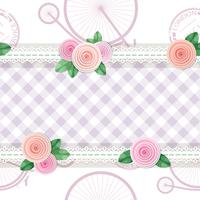 Shabby chic textile seamless pattern background with roses and bicycles