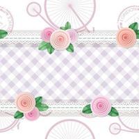 Shabby chic textil sin fisuras de fondo con rosas y bicicletas