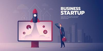 Businessman looking at flying rocket startup banner with text