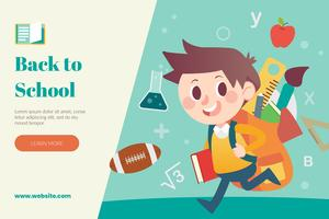 Back to school layout with student going to school