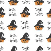 halloween pumpkin wearing witch hat seamless pattern