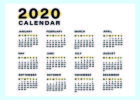 Modelo de calendário mínimo e simples