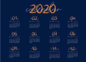 Blaue und kreative Kalendervorlage