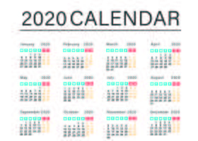 Plantilla de calendario empresarial simple