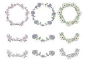 Colección de flores de guirnalda