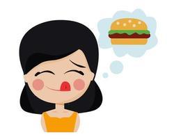 Menina com fome sonhar acordado
