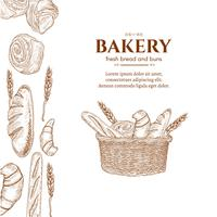 Bakery products basket with fresh bread