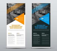Roll-up banners with blue and orange triangles Template