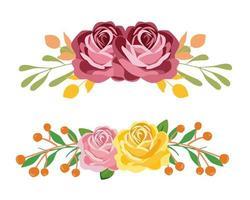 Rosa och gul bukettuppsättning