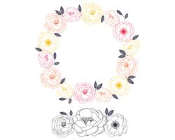 Outline Hand Drawn  Wreath